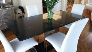 Elegant Black marble dining room set with 4 leather chairs