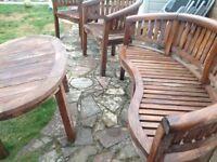Teak garden set table chairs bench