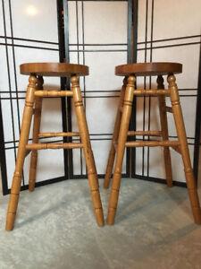 Solid wood stools (set of 2)