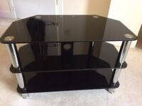 TV Stand (Black glass with chrome legs)