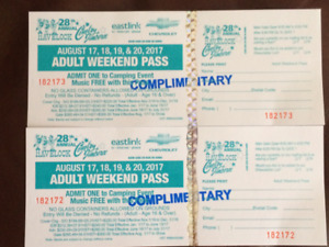 2 tickets to Havelock country jamboree with camping
