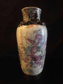 Chinese 19th century crackle glaze depicting warriors sign to base height=29cm