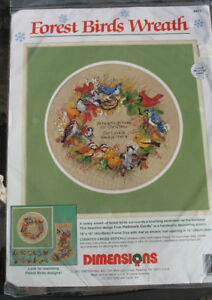 Forest Birds Wreath counted cross stitch