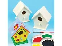 Baker ross craft it wooden bird houses 4 pack with 6 x 175ml acrylic paint for only £10