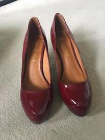 Patent cherry red Court shoes. Ladies size 8.5
