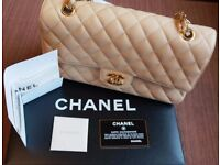"""10"""" 2.55 CHANEL BEIGE QUILTED LAMBSKIN LEATHER DOUBLE FLAP WITH GOLD HARDWARE"""