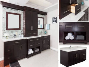 Solid Wood Vanity & Quartz Counter Floor Models - CLEARANCE
