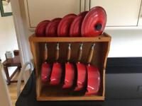 Set of 5 Le Creuset Pans & Stand