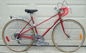 Red 20-inch Raleigh Mixte