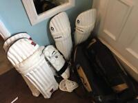 Cricket gear pads, thigh pads,boxes & bag