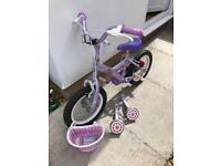 Kids/girls apollo petal bike with stabilisers and basket