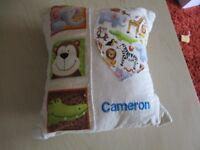 cushion with name Cameron on it - jungle theme SPC