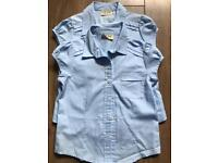 School uniform 2 girl blue short sleeve shirts 5 years