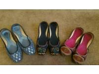 Three pairs of new slip on Pump shoes / Indian Khussa - Size 6