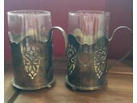 Pair Of antique glass holders