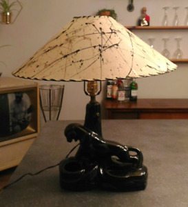 Mid Century Panther Planter Lamp