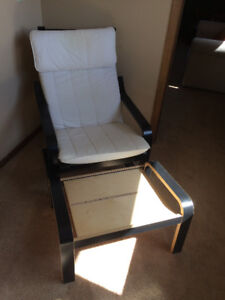 IKEA POANG chair and footstool.