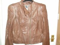 NEW Soft Leather Tan Jacket - Size 12