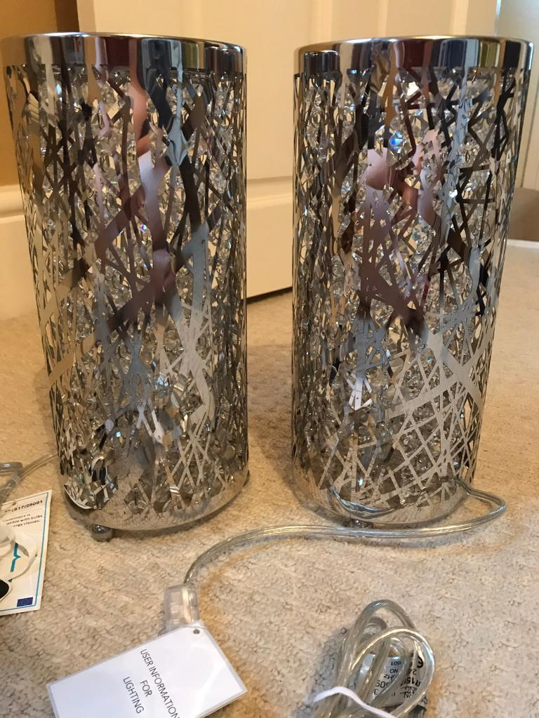 2 x chrome table lamps BRAND NEW