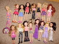 Collection of Bratz and other dolls, Princess Coralie makeup and styling head, excellent condition