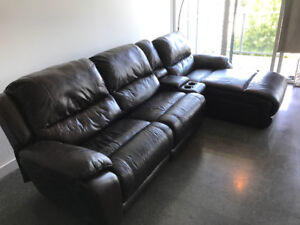 4-piece genuine leather sectional with power recliner