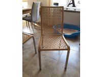 Set of 4 Ikea whicker and steel dining chairs