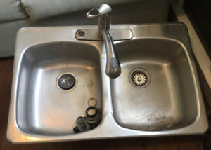"Double Kitchen Sink With Tap 31"" x 20.5"""