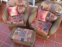 Conservatory wicker chairs and footstool with cushions