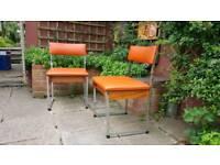 Retro diner chairs orange vinyl covers