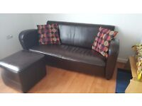 Real leather sofa and foot stool Now Reduced