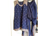 Handmade gorgeous Navy Blue Ladies Indian Outfit. Petite will fit size 10-12.