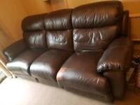 3 seater leather recliner & 2 chair suite