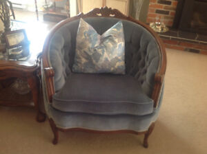 Vintage sofa and chair.antique wing back chair