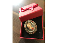 800 Silver Coral Hand Painted Signed Miniature Portrait Pin Brooch VIRGIN MARY