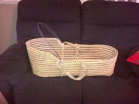 blue wicker moses basket stand and covers blue and white