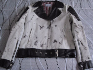Marbled Leather Biker Jacket - Ladies Small Fit - New