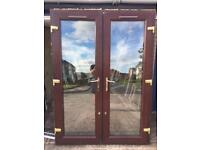 UPVC BROWN FRENCH DOORS GOOD CONDITION