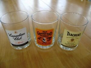 WHISKEY GLASSES AND MUGS CANADIAN CLUB OLD GRAND DAD &TEACHERS