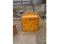 Baby changing station with 5 drawers-solid pine