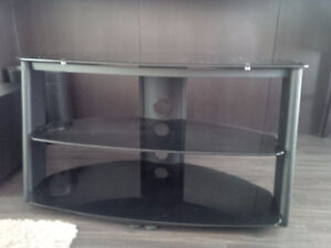 """$$$ Reduced - 42"""" TV Stand with Black Glass Shelves"""