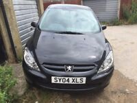 PEUGEOT 307 5 DOOR HATCHBACK, 1 YEAR MOT