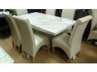 Beautiful white Marble dining table & 6 Cream leather Chairs