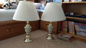 Set of 2 white & gold table lamps