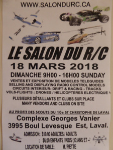 """THE QUEBEC RADIO CONTROL SHOW"""" 3 rd edition SUNDAY MARCH 18, 201"""