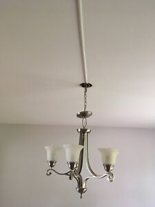 Brushed stainless steel and frosted glass chandelier