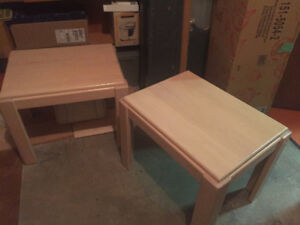 TWO BLEACH OAK (pale tinted) END TABLES