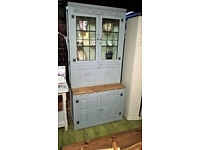 Oak drink cabinet cupboard with glazed doors and lights - shabby chic