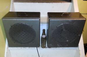 "1960 Mid Century Set OAKTRON 12"" STEEL BOX Speakers STEAMPUNK"