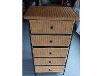 WHICKER 5-DRAWER UNIT with wrought Iron frame
