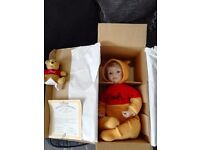 Winnie the pooh collectors doll by Ashton Drake, still in box with certificate of authenticity